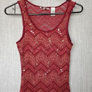 BKE red and gold sequin top